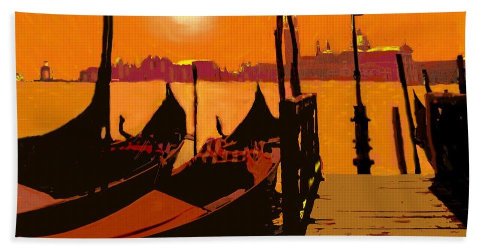 Venice Beach Towel featuring the digital art Venice In Orange by Ian MacDonald