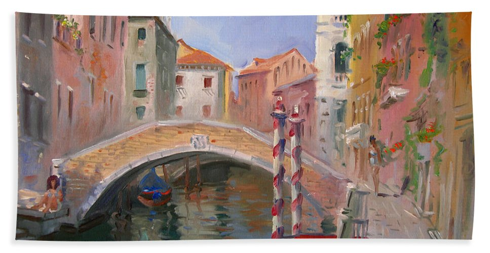 Venice Beach Towel featuring the painting Venice Ponte Vendrraria by Ylli Haruni