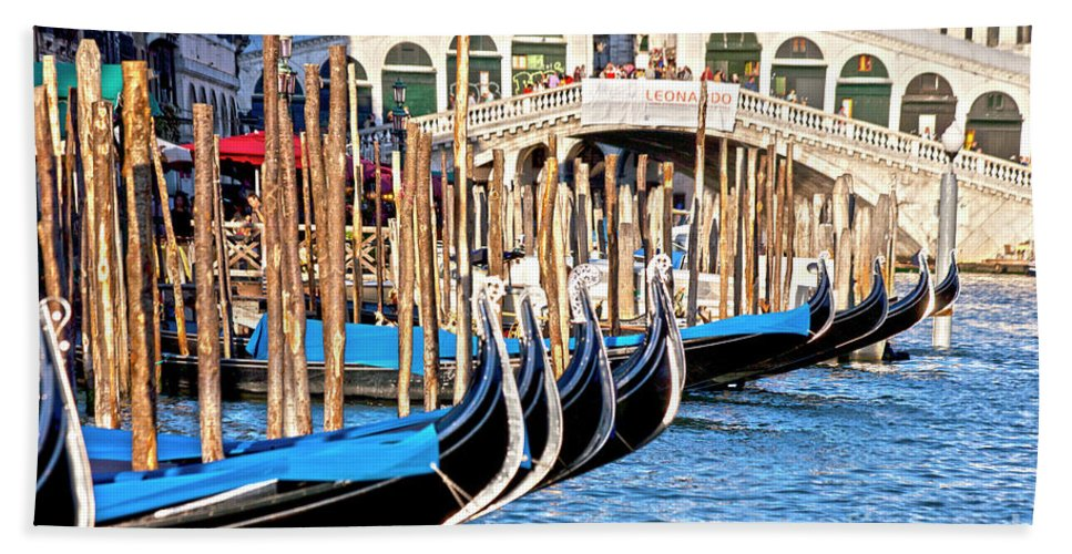 Venice Beach Towel featuring the photograph Venice Sunny Rialto Bridge by Heiko Koehrer-Wagner