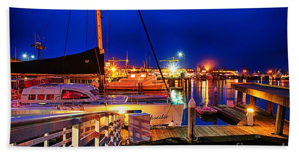 Ventura Harbor At Night Beach Towel featuring the photograph Ventura Harbor At Night by Mariola Bitner