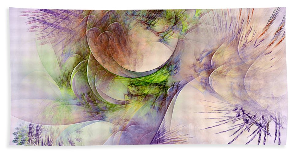 Abstract Beach Towel featuring the digital art Venusian Microcosm by Casey Kotas