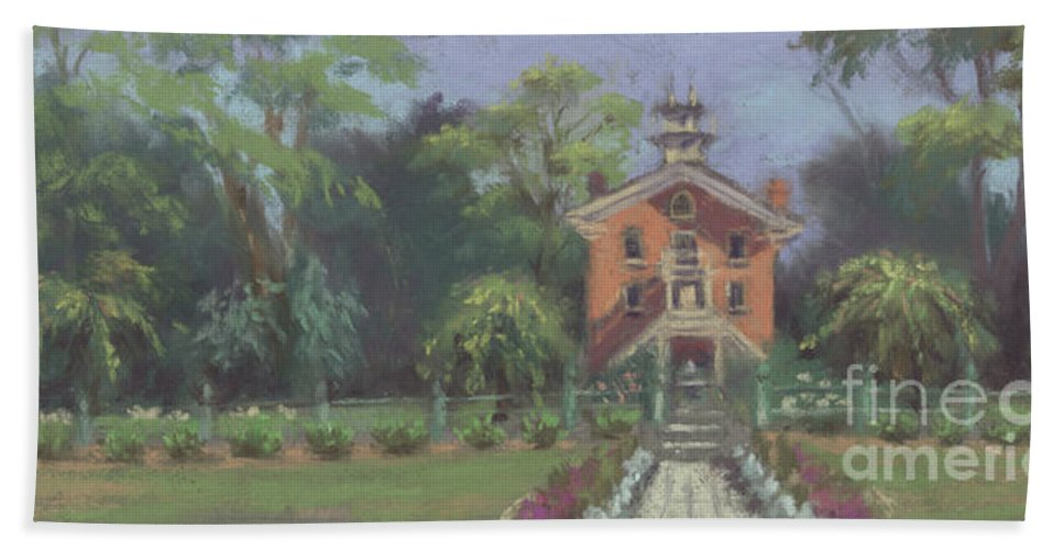 Plein Air Painting Of The Vermilion Institute In Hayesville Beach Towel featuring the painting Vermilion Institute - Hayesville Ohio by Terri Meyer