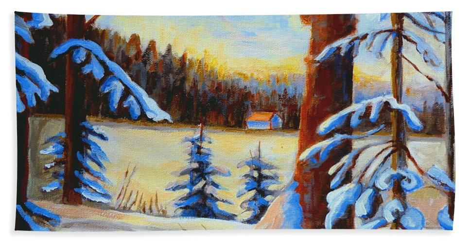 Vermont Beach Towel featuring the painting Vermont Log Cabin Maple Syrup Time by Carole Spandau