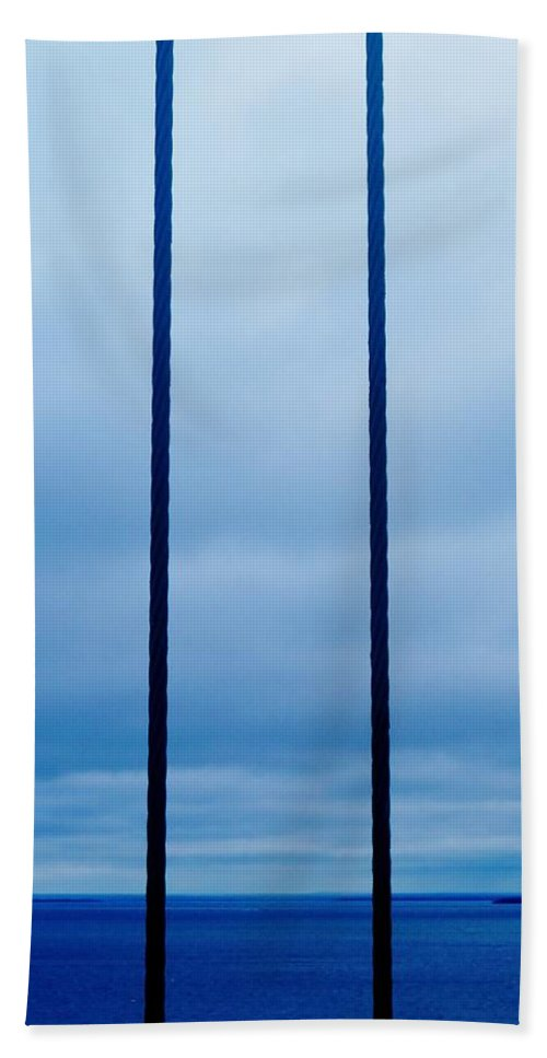 Mackinac Bridge Beach Towel featuring the photograph Vertical Cables by Daniel Thompson