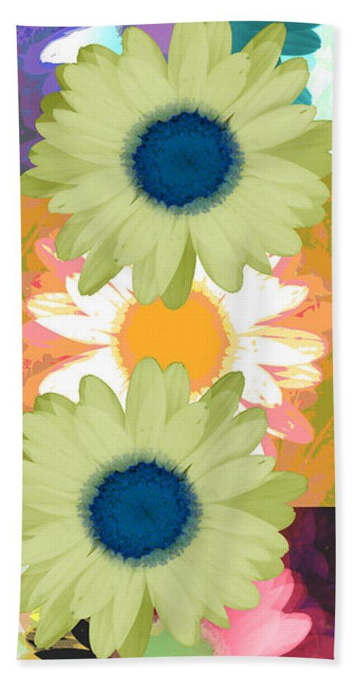 ruth Palmer Art Beach Towel featuring the digital art Vertical Daisy Collage II by Ruth Palmer