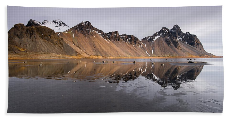 Vestrahorn Mountain Beach Towel featuring the photograph Vestrahorn Mountain In Stokksnes Iceland by Michalakis Ppalis