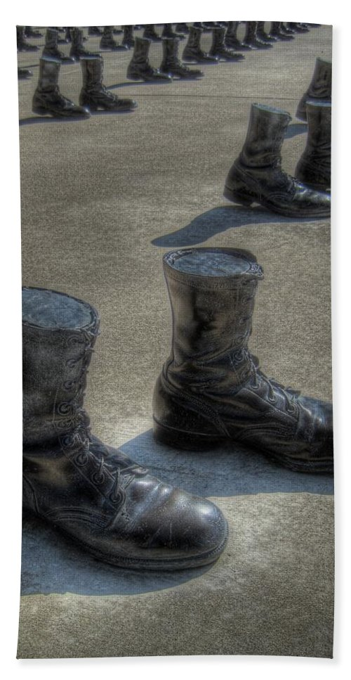 Boots Beach Towel featuring the photograph Veteran's Memorial Walk by Jane Linders