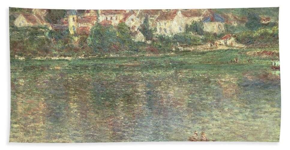 Monet Beach Towel featuring the painting Vetheuil by Claude Monet