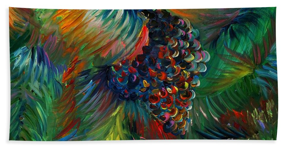 Grapes Beach Sheet featuring the painting Vibrant Grapes by Nadine Rippelmeyer