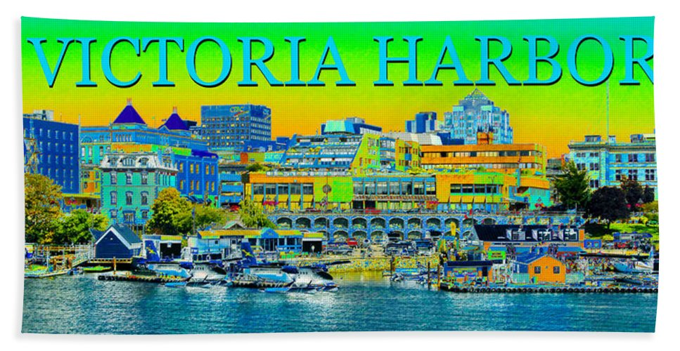 Art Beach Towel featuring the painting Victoria Harbor panoramic by David Lee Thompson