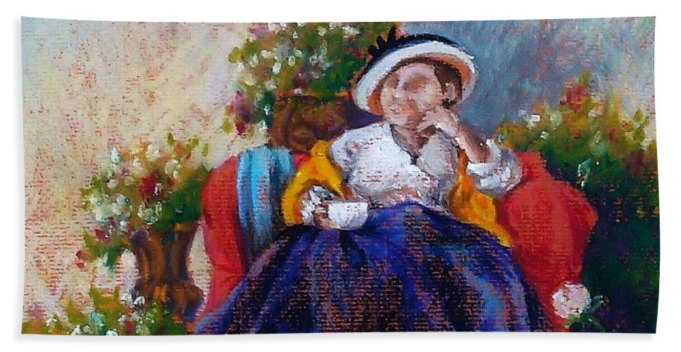 Tea Beach Towel featuring the painting Victorian Tea Time by K M Pawelec