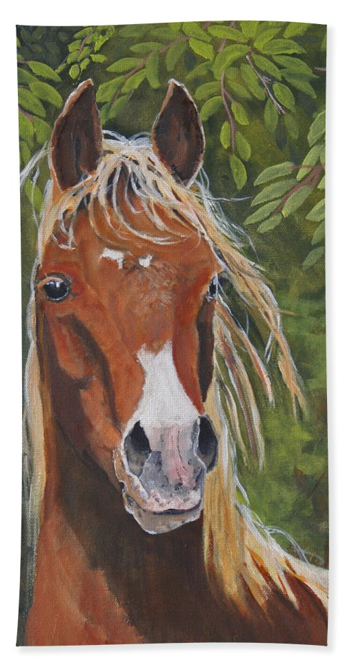 Horse Beach Towel featuring the painting Victory by Heather Coen