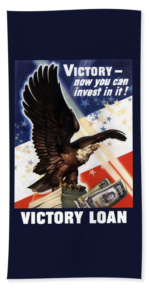 War Loan Beach Towel featuring the painting Victory Loan Bald Eagle by War Is Hell Store