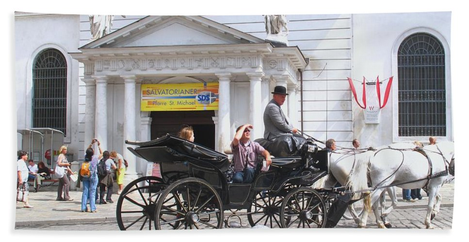 Carriage Beach Towel featuring the photograph Vienna Horse And Carriage by Ian MacDonald