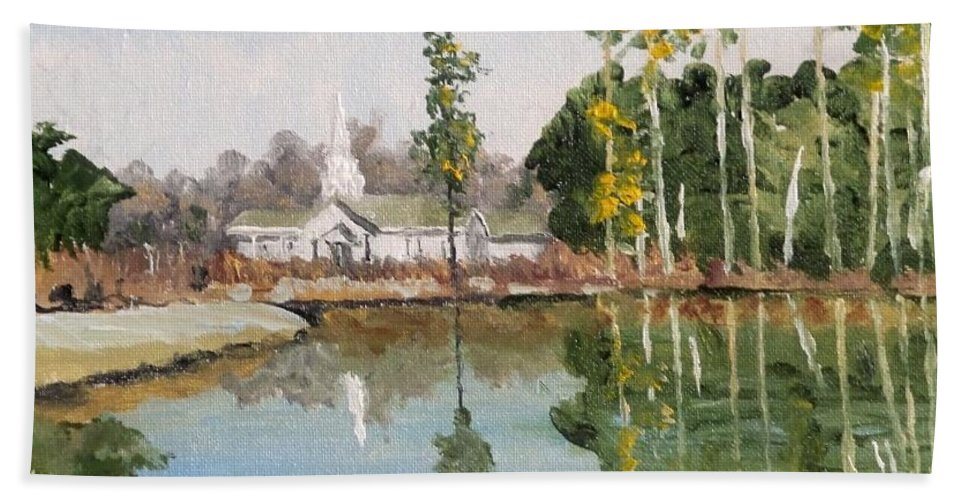Beach Towel featuring the painting View Across The Pond by James H Phillips