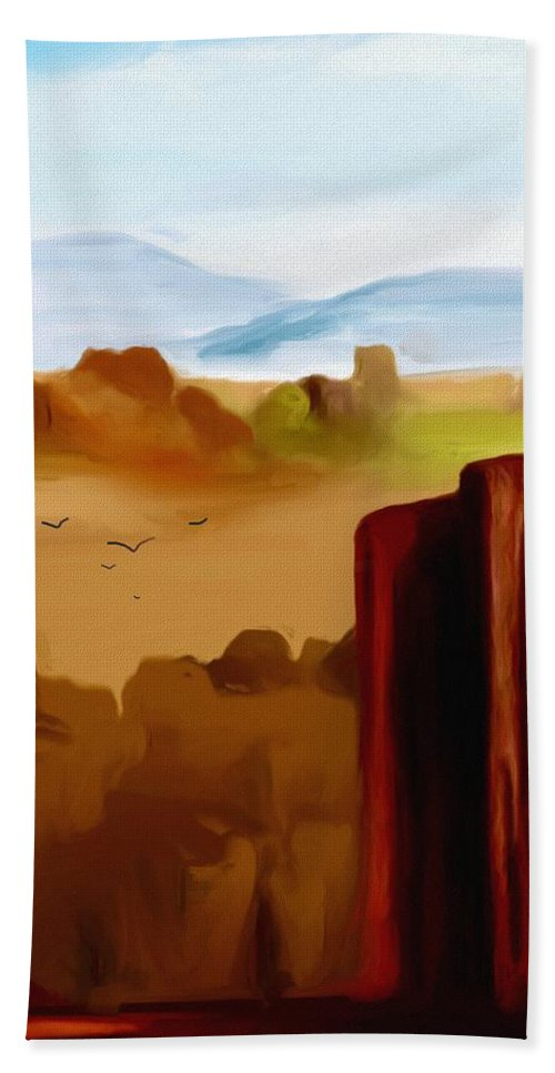 Digital Painting Beach Towel featuring the digital art View From A Butte by David Lane