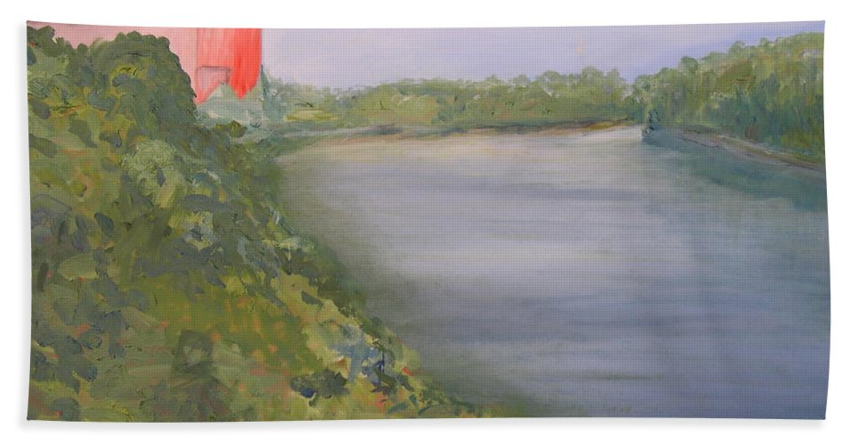 Landscape River Water Nature Beach Sheet featuring the painting View From Edmund Pettus Bridge by Patricia Caldwell