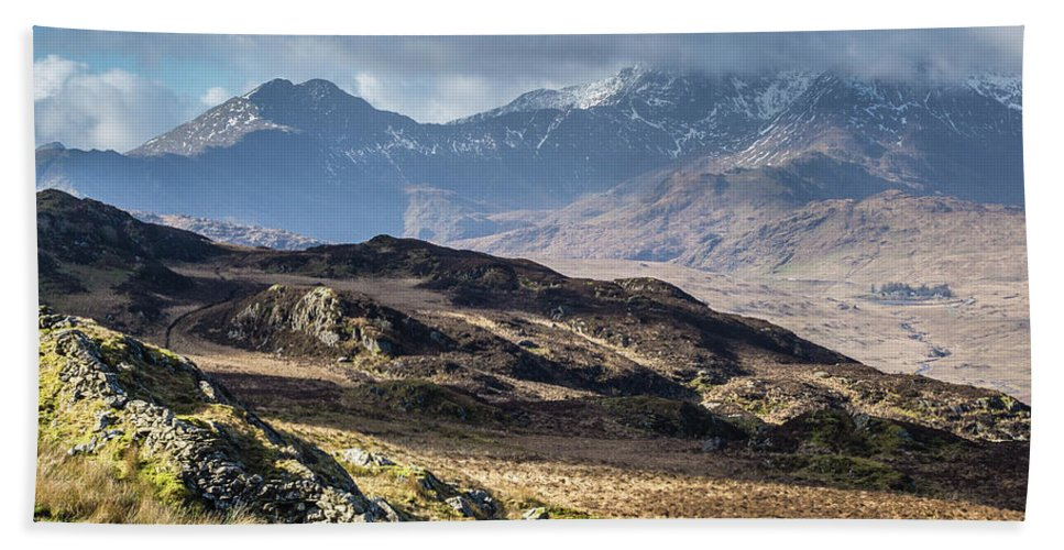 Moel Siabod Beach Towel featuring the photograph View from Moel Siabod, Snowdonia, North Wales by Anthony Lawlor