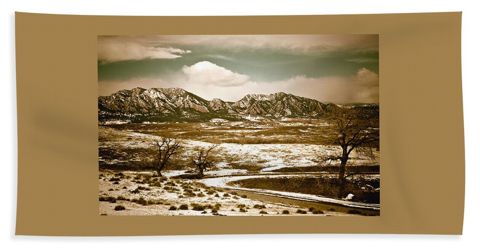 Landscape Beach Towel featuring the photograph Flatironsview From Superior by Marilyn Hunt