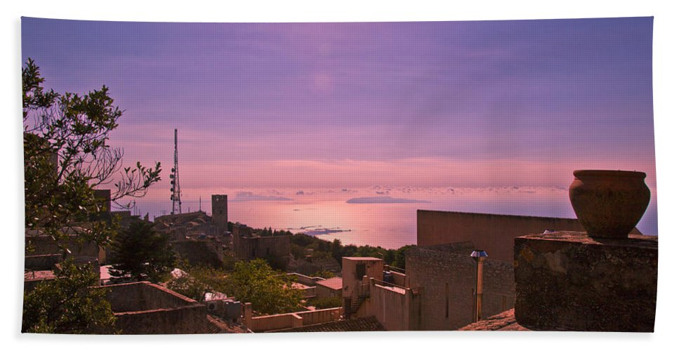 Sunset Beach Towel featuring the photograph View From The Top In Sicily 2 by Madeline Ellis