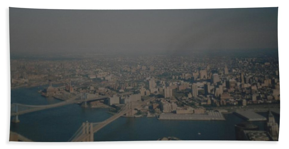 Wtc Beach Towel featuring the photograph View From The W T C by Rob Hans
