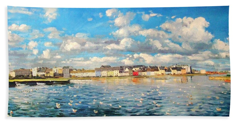 Galway Harbour Beach Towel featuring the painting View Of Galway Harbour by Conor McGuire