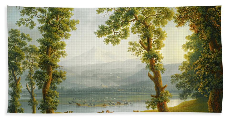Painting Beach Towel featuring the painting View Of Piedimonte by Mountain Dreams