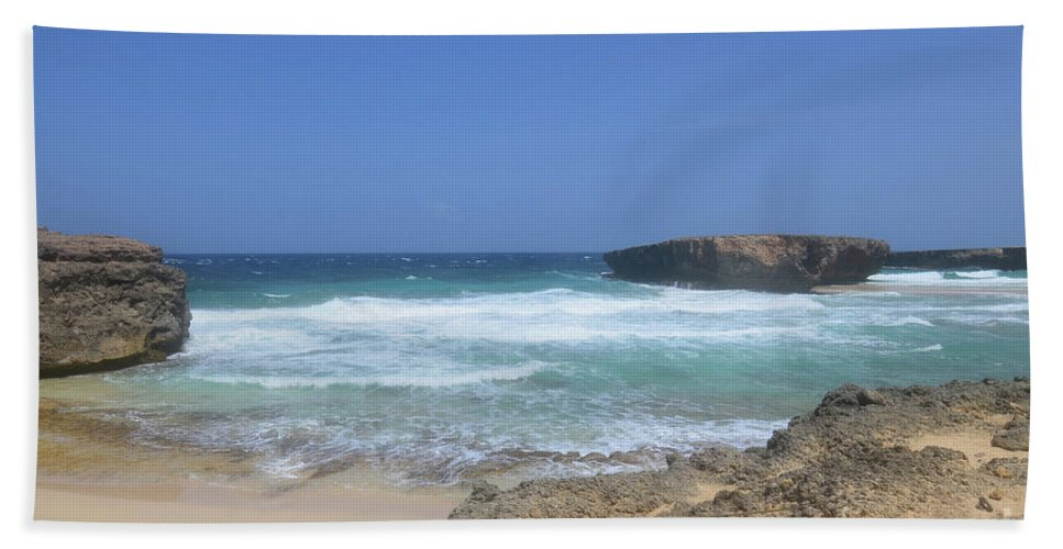 Boca Keto Beach Towel featuring the photograph View Of Small Aruba Rock Formation On Boca Keto by DejaVu Designs