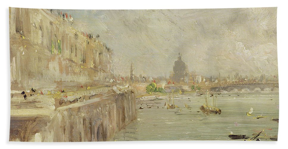 View Beach Towel featuring the painting View Of Somerset House Terrace And St. Paul's by John Constable