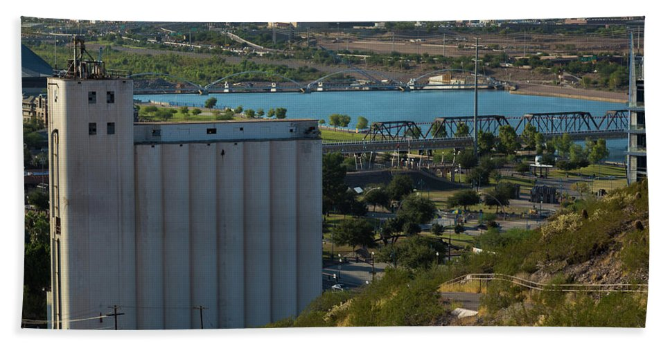 Arizona Beach Towel featuring the photograph View Of Tempe Lake With Phoenix In Background by Steve Wile