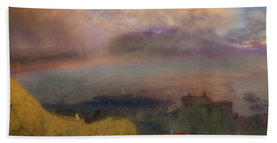 Art Beach Towel featuring the painting View Of The Bay Of Naples With Vesuvius Smoking In The Distance by Alfred Hunt