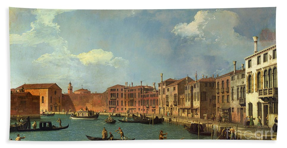 View Of The Canal Of Santa Chiara Beach Towel featuring the painting View Of The Canal Of Santa Chiara by Canaletto