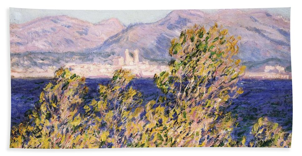 Impressionism; Impressionist; Landscape; Tree; Mountain; Wind; Sea; Ocean; Coast; Mediterranean; Cape; Gorse; Breeze; View Of The Cap D'antibes With The Mistral Blowing Beach Towel featuring the painting View Of The Cap Dantibes With The Mistral Blowing by Claude Monet