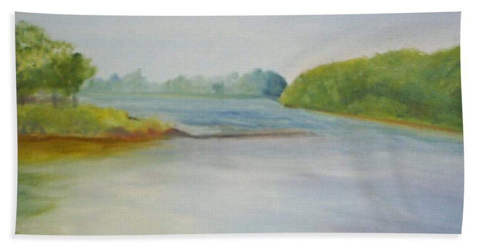 Delaware River Beach Towel featuring the painting View Of The Delaware by Sheila Mashaw