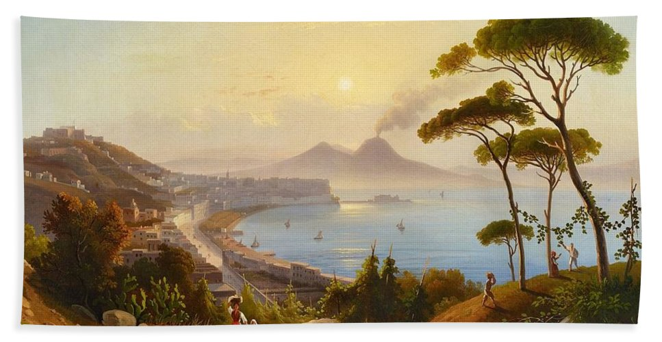 August Wilhelm Ahlborn Beach Towel featuring the painting View Of The Gulf Of Naples by August Wilhelm Ahlborn
