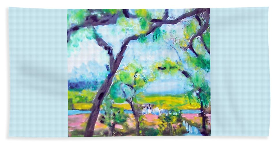 Trees Beach Towel featuring the mixed media View Of The Marsh by Patricia Taylor