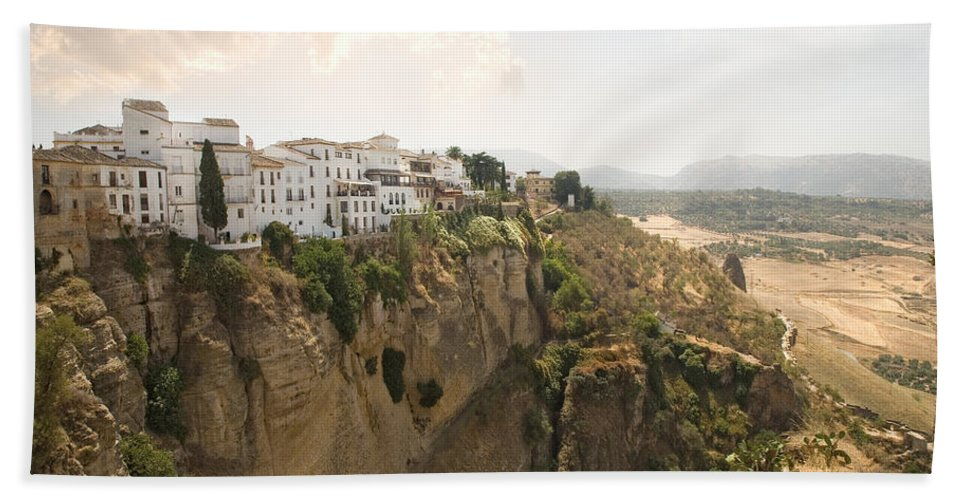 Ronda Beach Towel featuring the photograph View Over The Tajo Gorge Ronda Home Of Bullfighting by Mal Bray