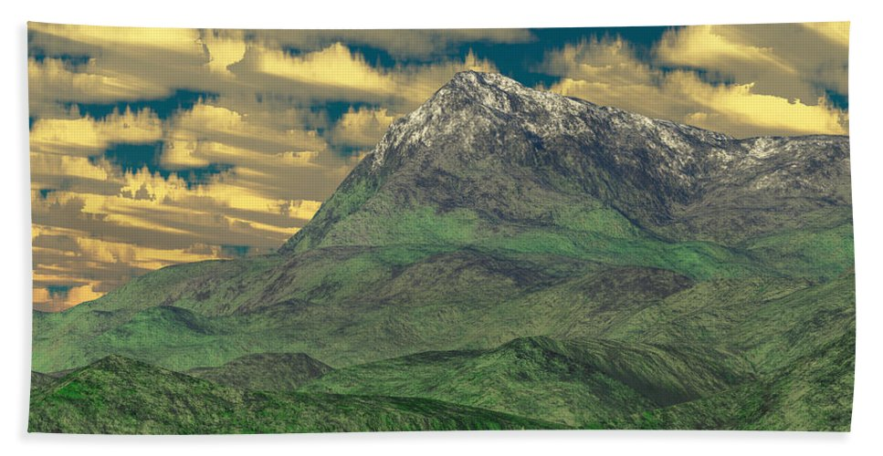 Digital Art Beach Sheet featuring the digital art View To The Mountain by Gaspar Avila