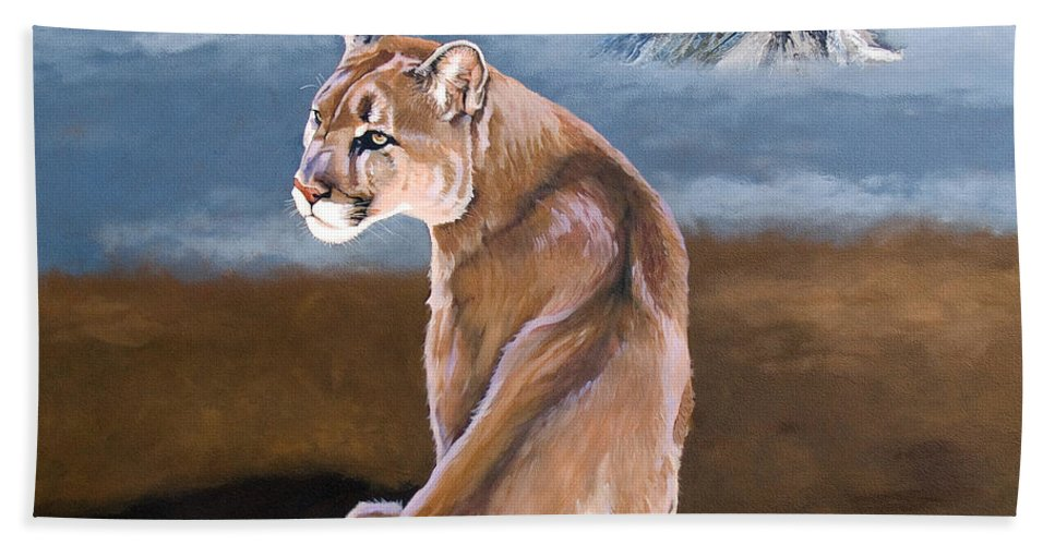 Indigenous Wildlife Beach Towel featuring the painting Vigilance by J W Baker