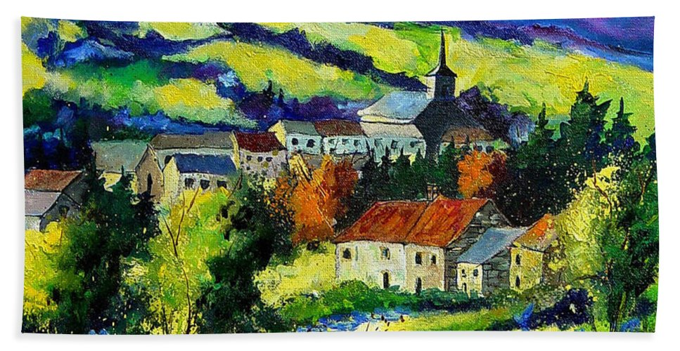 Landscape Beach Towel featuring the painting Village and blue poppies by Pol Ledent