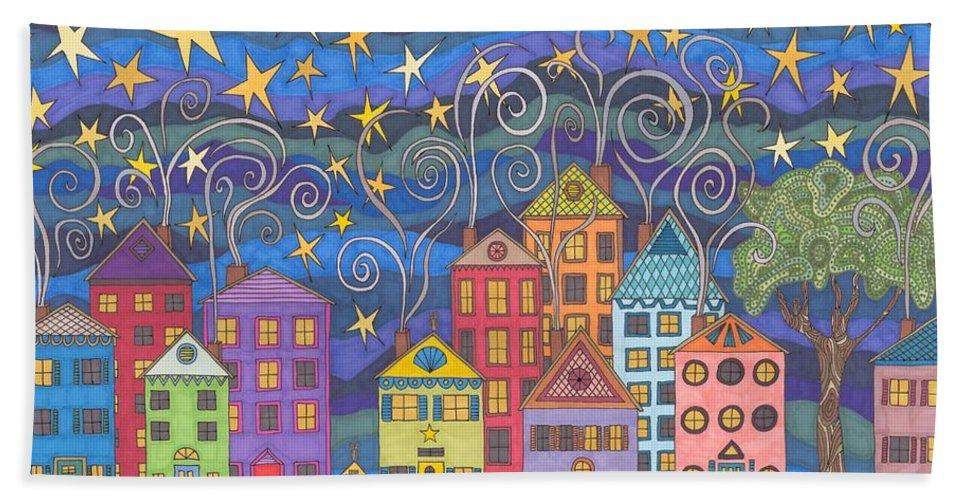 Village Beach Towel featuring the drawing Village Lights by Pamela Schiermeyer
