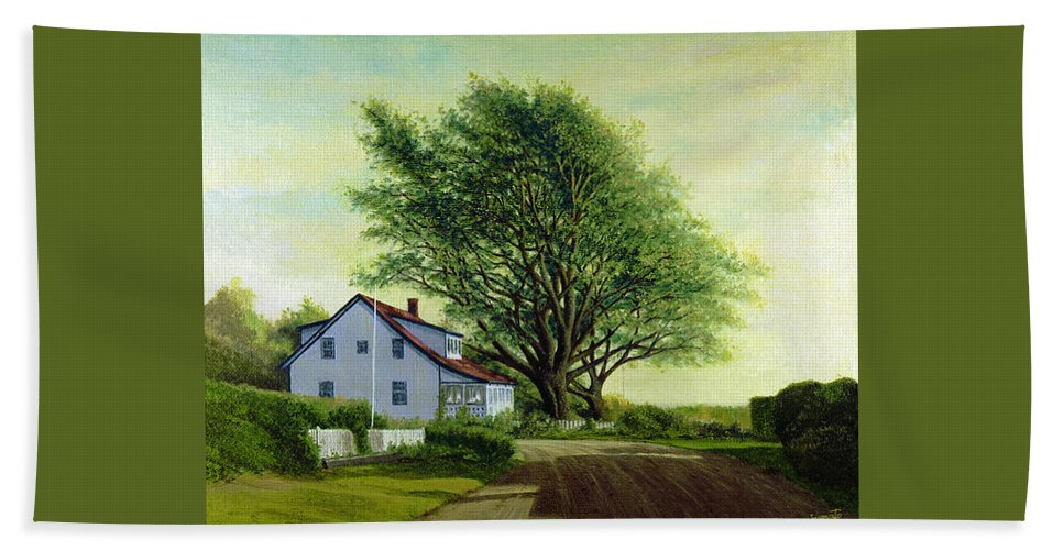 Beach Towel featuring the painting Village Road Orient 16x20 by Tony Scarmato