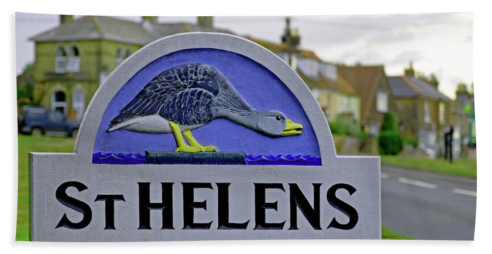 Europe Beach Towel featuring the photograph Village Sign - St Helens by Rod Johnson
