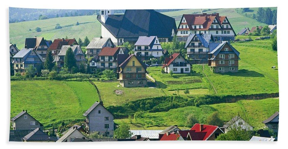 Village Beach Towel featuring the digital art Village by Zia Low
