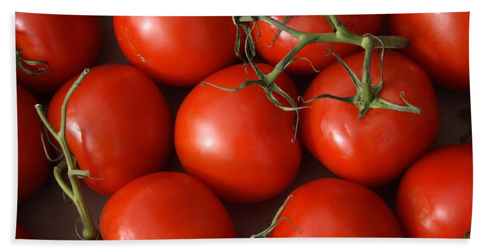 Tomatoes Beach Towel featuring the photograph Vine Ripe Tomatoes Fine Art Food Photography by James BO Insogna