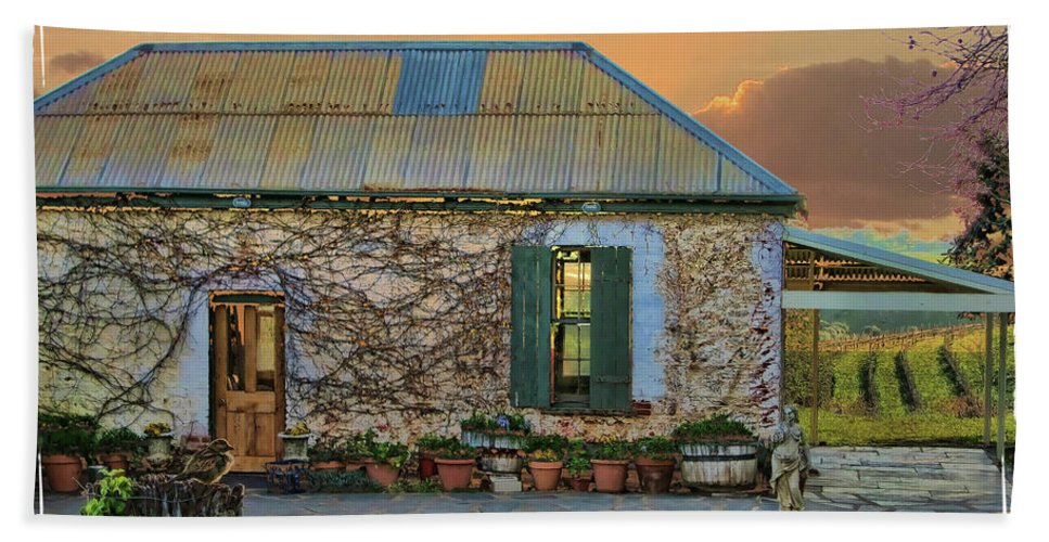 Cottage Beach Towel featuring the photograph Vino Cottage by Douglas Barnard