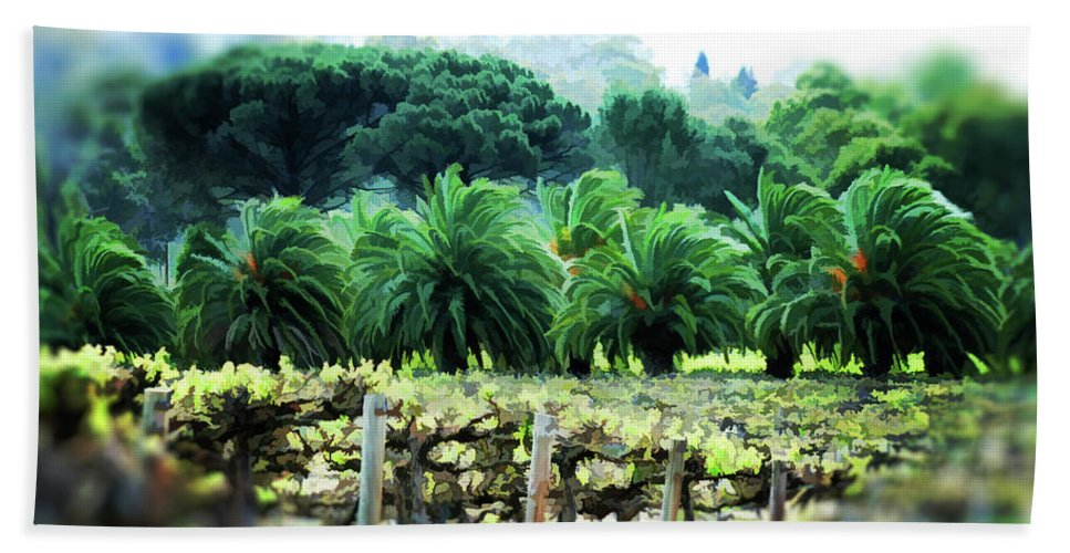 Vineyard Beach Towel featuring the photograph Vino Palmetto by Douglas Barnard