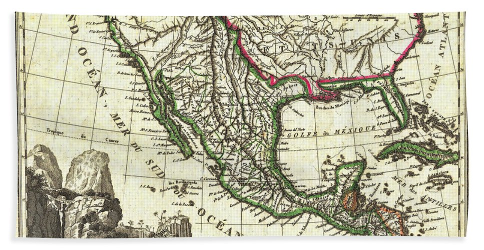 mexico beach sheet featuring the photograph vintage 1810 map of mexico texas and california by stephen