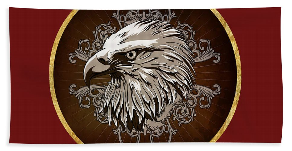 American Bald Eagle Beach Towel featuring the painting Vintage American Bald Eagle by Elaine Plesser