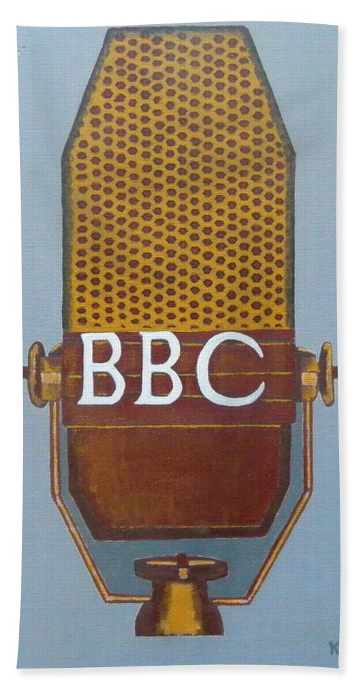 Painting Beach Towel featuring the painting Vintage Bbc Mic by Ken Pursley